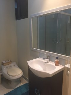 large mirror in bathroom