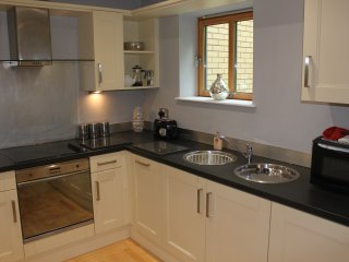 The fully equipped kitchen has dishwasher, washer/drier and a fridge-freezer plus everything you wil