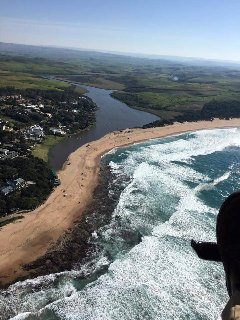 Aerial view looking up the Zinkwazi River from the main swimming beach