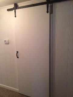 New 'barn' doors to two bedrooms....neat!