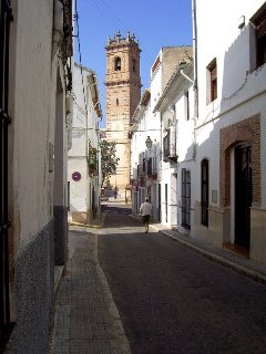 Narrow streets lead to the bell tower of Snata Maria Church