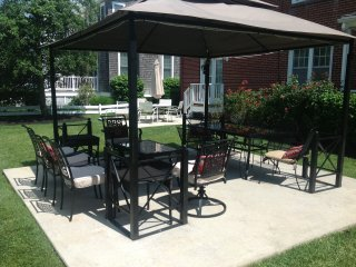 Shows the two patios in our large backyard. Photographed in the summer 2016!
