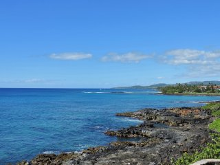 Poipu Shores 206A 2BR/2BA Fully Oceanfront Updated. Heated Pool. Central Air