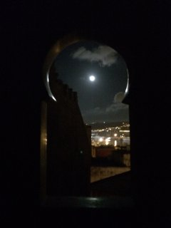 Moonlight through the cedar window of the moon double room