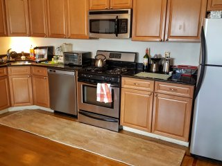 The kitchen. All new appliances. Four-burner gas stove and oven. Coffee maker, blender, etc.
