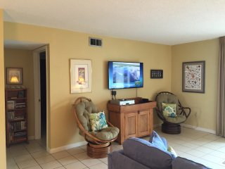 Living Room 50-inch Flat Screen TV. Small hall and door on left leads to Master Bedroom & Bath.