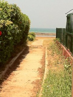 mur du jardin et l'allée vers la mer