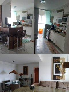 Cozinha totalmente equipada com microondas, fogão,geladeira smart com freezer espaç, loça e panelas.