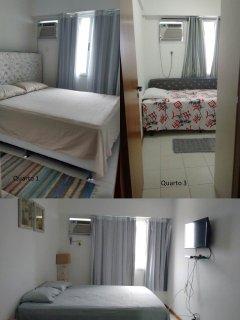 Quartos espaçosos, uma suite e dois quartos. Camas de ótima qualidade.