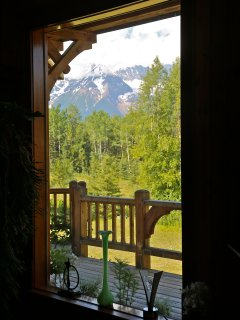 Hudson Bay Mountain through lliving room window