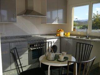 Cocina equipada con lavadora, lavavajillas, frigorífico, microondas, horno y vitrocerámica eléctrica