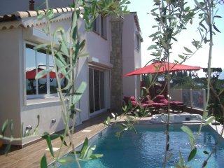 Villa 4* de charme 3 ch 3 sdb  jacuzzi piscine vue mer 15 minutes centre Nice