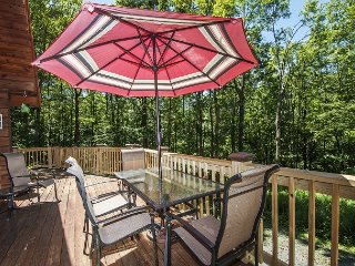 Centrally located log home with fire pit and expansive deck!