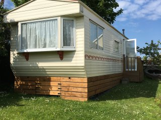 Caravan for hire in the village of Moelfre