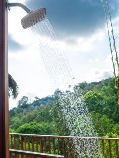 *NEW outdoor shower by the plunge pool, perfect for cooling off after the beach!