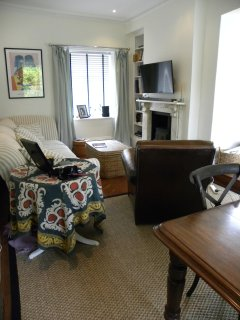 sitting area of dining room showing TV and wood burning stove