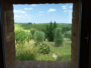 Chianti Vineyards, Four-Bedroom Home for up to nine guests. Views to Siena!