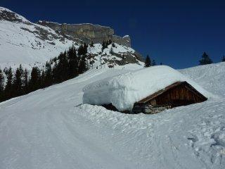 chalets d'alpage en hiver