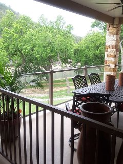 Patio overlooking the river