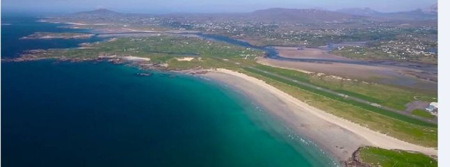 Carrickfinn airport, 2nd most scenic airport worldwide 2017.  Flights from Dublin and Glasgow.