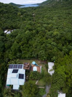 An Aerial view ov the property in relation to Coral Bay 3/4 mile away