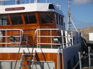 The wheelhouse - showing the steps that lead up to the accommodation.