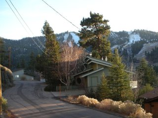 Side view of Chalet w/Bear Mountain Ski Resort in the background.
