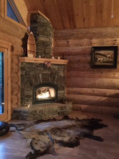 Nice fireplace doubles as the home furnace