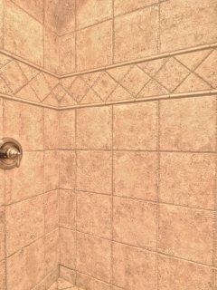 Large newly tiled shower