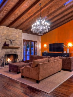 Great room fireplace with large comfortable couch