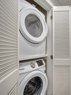 Washer and dryer are provided.