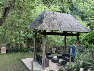 Maison dans nature luxuriante, bord riviere