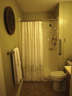 Bathroom with easy step-in shower