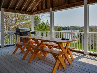 Charming home w/ ocean views, large deck, entertainment - walk to beach!