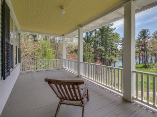Elegant and inviting plantation-style home with two levels of wrap-around decks, Boothbay Harbor