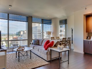 Modern condo w/ downtown views, close to shopping/dining, dog-friendly!