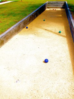 Daytime photo of the bocce court