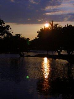 Sunset over The Kalahuipua'a ancient fishponds.