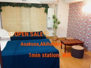 Direct airport Central  Asakakusa 1min 6guest Wifi, Taito