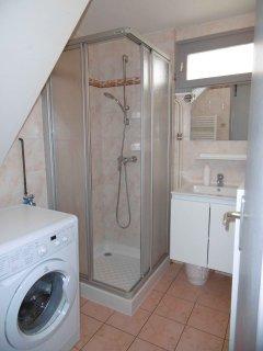La salle de bain avec machine à laver.