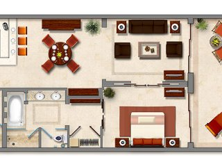 Layout view of the Master Suite 1 bedroom, 2 bathroom