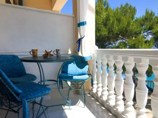 Coffee area on main balcony.