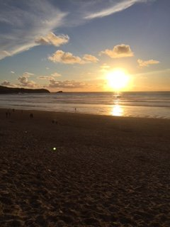 Wonderful Sunsets to be seen whilst eating dinner or just having a drink at Fistral Beach