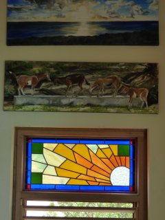 Owner-made stained glass and local artists