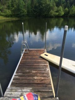 Spring-fed pond with dock, ladder, beach chairs, and plenty of frogs for catching,