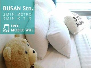 2min Busan Stn. 5min KTX Stn., Cozy Loft Duplex 1R