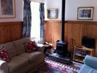 The wood-burning stove and tv in the comfy lounge