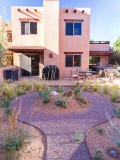 The back of the townhouse seen from the Red Rock Garden.