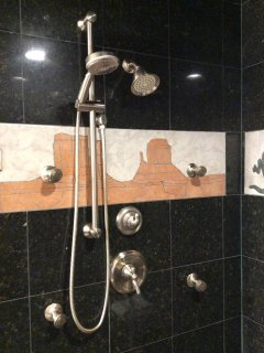 Main bath-new shower fixtures includes Shower, Rain head, hand held and body sprays