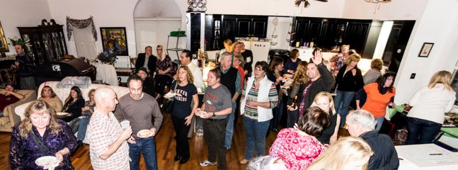 A party event with over 75 after the furniture has been moved around